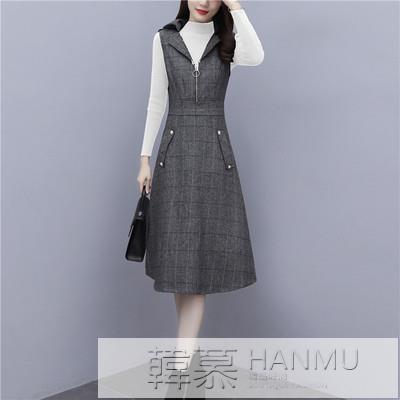 洋裝 2020年新款女秋冬季毛呢休閒時尚套裝女馬甲洋氣兩件套針織連身裙 女神購物節