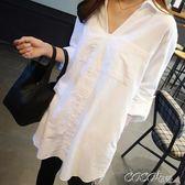 中大尺碼長襯衫 韓國秋裝新款寬鬆大碼夏季中長款襯衫女長袖領白色套頭襯衣 coco衣巷