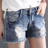 寬鬆破洞牛仔短褲女顯瘦直筒短褲