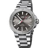 ORIS 豪利時 Aquis Relief 日期潛水機械錶-灰/43.5mm 0173377304153-0782405PEB