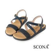 SCONA 蘇格南 全真皮 精緻雷射交叉舒適涼鞋 深藍色 31025-1