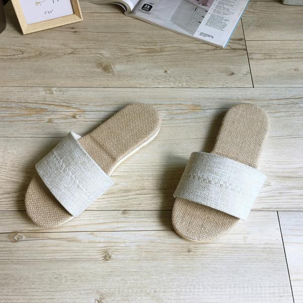 台灣製造-和風系列-棉麻室內拖鞋-爵色-米