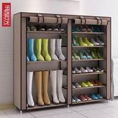 鞋櫃 多層鐵藝雙排收納防塵布鞋櫃現代簡約鞋架子 巴黎春天