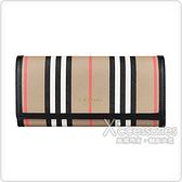 BURBERRY ICON STRIPE燙金LOGO條紋設計環保帆布6卡釦式長夾(典藏米x棕)