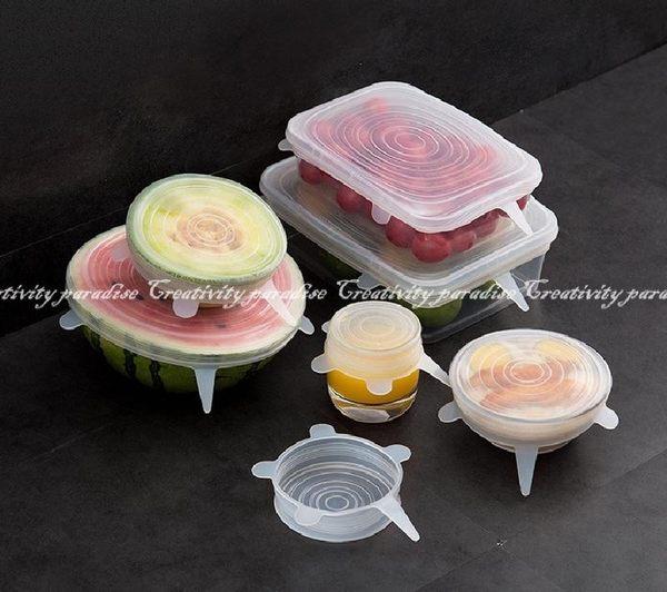 【保鮮蓋6件組】矽膠密封保鮮膜 可水洗彈性密封蓋 環保圓形食物碗蓋杯蓋盤蓋六件組