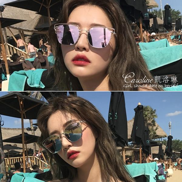 《Caroline》2018新款韓國ulzzang東大門 圓形彩膜潮流百搭時尚太陽眼鏡 69867