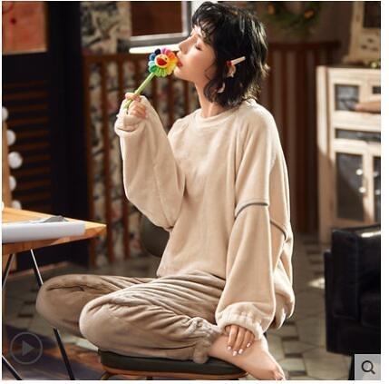 睡衣女士秋冬季珊瑚絨加厚加絨法蘭絨冬天2020年新款可外穿家居服 童趣潮品