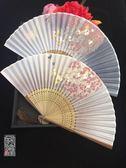 6寸烤漆邊真絲古風扇子櫻花竹折扇古典中國風舞蹈扇子漢服女月輪【Pink Q】