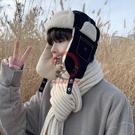 雷鋒帽 雷鋒帽男潮牌冬季飛行員東北羊羔毛加厚保暖棉帽騎車男士冬天耳包【風之海】