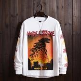 新品日系街頭hiphop港風潮牌火焰印花長袖T恤嘻哈男女打底衫 町目家港仔会社