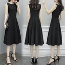 吊帶裙 宴會派對小黑裙 無袖小黑裙 赫本連身裙女2021新款中長款夏季打底背心裙 8號店