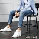 淺色牛仔褲男夏季薄款百搭男褲子新款修身小腳休閒九分褲子男「時尚彩紅屋」