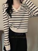 条纹长袖T恤女装 内搭打底衫设计感小众V领上衣【少女顏究院】