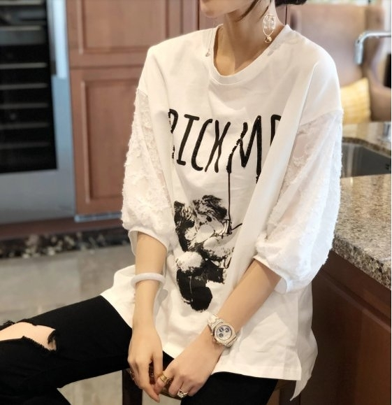大碼衣著上衣T恤韓系寬鬆休閒衫L-2XL歐貨潮白色短袖寬鬆大碼打底小衫MC019A.5820依品國際