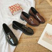 韓版百搭樂福鞋女早春英倫風復古學生方頭小皮鞋平跟單鞋 優家小鋪