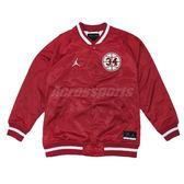 Nike 外套 Jordan He Got Game 男女款 棒球外套 緞面 夾克 長袖 上衣 飛人 紅 白 【PUMP306】 AR1170-688