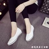 一字牌護士鞋女白色坡跟軟底牛筋底美容鞋平底夏季防臭透氣小白鞋 創意家居