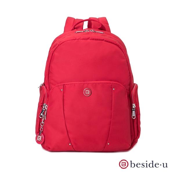 beside u BLL 金屬點綴簡約素面防潑水後背包 - 紅色 原廠公司貨