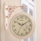 雙面掛鐘歐式創意錶客廳靜音田園時鐘錶兩面個性時尚現代簡約掛錶  【端午節特惠】