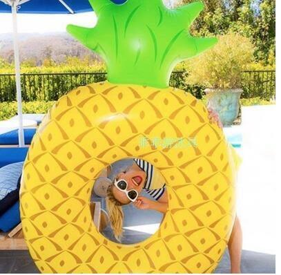 充氣菠萝浮排獨角獸水上坐騎成人鳳梨游泳圈   主圖款【乳白色菠蘿泳圈】