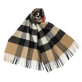 BURBERRY 經典大格紋山羊絨圍巾(典藏米)089542-3