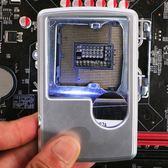 聖誕節放大鏡帶LED燈5倍便攜式卡片老人閱讀手持方形看書手機短信
