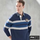 【JEEP】經典條紋拼色長袖POLO衫 (藍)