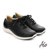 A.S.O 3D超動能 真皮沖孔奈米綁帶休閒男鞋  黑