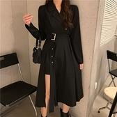 快速出貨 秋裝新款黑色西裝領設計感小眾長裙收腰顯瘦氣質洋裝女神范 【新春歡樂購】