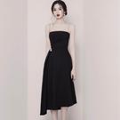一字領洋裝 法式桔梗復古裙子晚禮服抹胸吊帶連身裙
