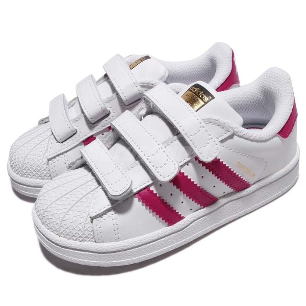 adidas 休閒鞋 Superstar CF I 粉紅 白 魔鬼氈 基本款 小童鞋 童鞋【PUMP306】 BZ0420