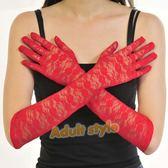 新娘手套 全罩手套 紅色蕾絲花紋手套【滿千87折】快速出貨