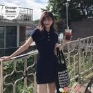 短袖洋裝 夏季韓版新款休閒法式復古收腰針織短袖連身裙少女小個子A字短裙 愛丫 免運