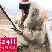 梨卡★現貨 - 韓國空運大毛領寬鬆超美中長版連帽拉鍊羽絨棉鋪棉防風保暖禦寒風衣外套大衣A508