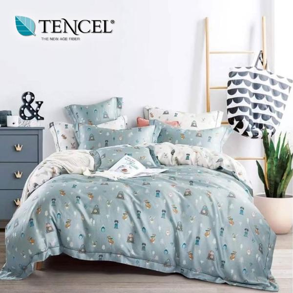 【貝淇小舖】天絲床包四件式 100%萊賽爾天絲雙人5x6.2尺 鋪棉兩用被床包組 附天絲吊卡 小伙伴藍