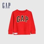 Gap男幼童 Logo亮色圓領休閒上衣 966837-紅色