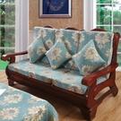 沙發罩 實木沙發墊帶靠背紅木沙發坐墊加厚海綿墊子聯邦椅墊春秋椅墊防滑【快速出貨八折鉅惠】