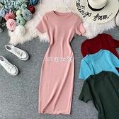 短袖純色氣質圓領歐美彈力針織緊身打底裙包臀一步裙洋裝中長款 快速出貨