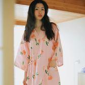 夏天睡袍女日式純棉紗布中長款浴袍和服七分袖寬鬆汗蒸服系帶睡裙