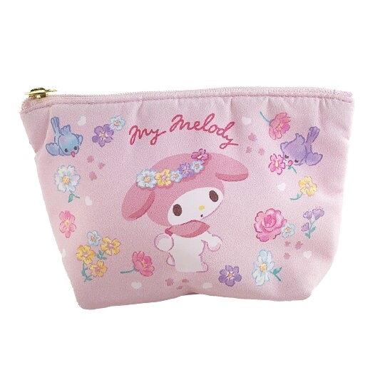 小禮堂 美樂蒂 船形厚棉化妝包 棉質化妝包 三角化妝包 小物包 (粉 花朵) 4550337-65822