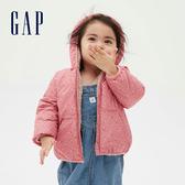 Gap嬰兒 保暖印花兩面穿開襟連帽外套 593699-粉色