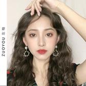 複古纏繞水晶珍珠幾何圓形耳環女長款韓國氣質百搭耳夾耳飾品