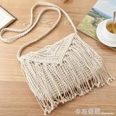 新款中國風森系草編包女包夏季蕾絲編織單肩斜背包草包藤編包 雙十二全館免運