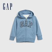 Gap男幼童 Logo磨毛刷毛舒適拉鍊連帽衫 600533-淺藍色