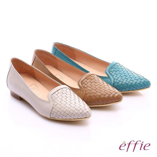 effie繽紛舒適 真皮編織尖楦低跟鞋  桔紅