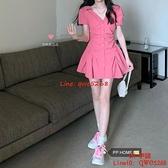 桃粉裙小個子元氣顯瘦V領褶皺收腰連身裙女【CH伊諾】