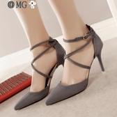 MG 高跟鞋-一字扣帶涼鞋女春夏新款歐美細跟尖頭高跟鞋百搭包頭羅馬女鞋