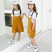 女童吊帶褲新款韓版寬鬆休閒夏裝女中大童闊腿短褲