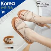 涼鞋.細帶交叉按摩墊涼鞋-大尺碼(金、棕)-FM時尚美鞋-韓國精選.Shiny