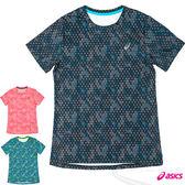 ASICS 亞瑟士 fuzeX女慢跑印花T恤(花深藍)  休閒衣 慢跑 路跑 2016最新款